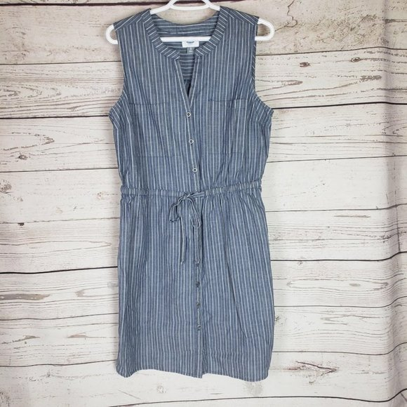 Old Navy Button Down Sleeveless Striped Dress